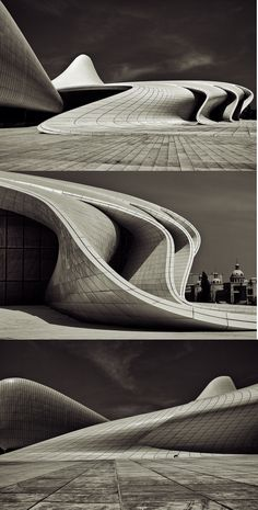 Zaha Hadid [Baku, Azerbaijan] Zaha Hadid's Heydar Aliyev Centre wins 2014 Design Of The Year. With the alluring curves of the building and the interesting perspectives its wonder to how architecture keeps changing and becoming more complex. Architecture Design, Organic Architecture, Futuristic Architecture, Beautiful Architecture, Contemporary Architecture, Landscape Architecture, Installation Architecture, Building Architecture, Layered Architecture
