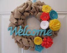 Spring Wreath, Burlap Wreath, Door Wreath, Felt Flower Wreath, Spring Decor, Welcome Wreath
