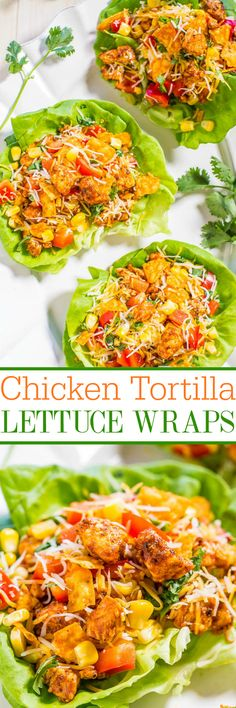 Chicken Tortilla Lettuce Wraps - Filled with Mexican flavors, there's taco-seasoned chicken, tomatoes, corn, peppers, cilantro, and cheese! Easy, healthy, ready in 10 minutes, and a family favorite!! Great for easy entertaining and parties!