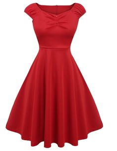 Sexy Women Sleeveless Draped Fit and Flare Solid Party Knee Pleated Swing Casual Dresses
