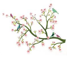 Veggdekorasjon, kirsebærtre