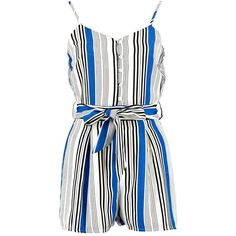 Boohoo Bella Belted Striped Cami Playsuit | Boohoo (€25) ❤ liked on Polyvore featuring jumpsuits, rompers, party rompers, white camisole, striped romper, playsuit romper and striped rompers