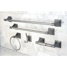 Bring new life to your bathroom with this five-piece bathroom accessory set. This beautiful set has a satin nickel finish and durable construction. The set comes with a 24-inch towel bar, 18-inch towel bar, towel ring, robe hook, and toilet-paper holder.