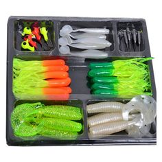 bouti1583 Fishing Lures Bait Tackle Soft Small Jig Head Box Set Simulation Outdoor Store [gallery] Package Included: 1. 35 pieces soft lurs about 2. 8-10 Jig Head of small size Notes: 1. We've got many batches of colours and can send them to you randomly. 2. These lures don't fits for terribly hard rod. This is a lure set for fishing. Package Included about 35 pieces soft lurs and 8-10 Jig Head of small…