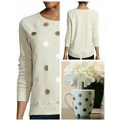 """STYLUS LONG SLEEVE RAGLAN DOT SWEAT SHIRT PLUCKY POLKA DOTS GOVE THE TRADITIONAL  CUT OF OUR COZY RAGLAN SWEATSHIRT AND FUN AND UNEXPECTED  TWIST.  *APPROX. 23 1/4"""" LENGTH  * ROUND NECK *WASHABLE *COTTON/ SPANDEX  *IMPORTED STYLUS Sweaters"""