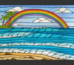 Daydream Rainbow - A beautiful view of crashing waves framed by a Hawaiian rainbow by Hawaii artist Heather Brown Hanging Canvas, Canvas Frame, Canvas Art, Big Canvas, Hawaiian Rainbow, Hawaiian Art, Heather Brown Art, North Shore Oahu, Mat Paper