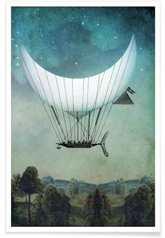 The Moon Ship als Premium Poster von Catrin Welz-Stein | JUNIQE