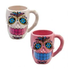 ~Mexican day of the dead sugar/candy skull mugs ♥~