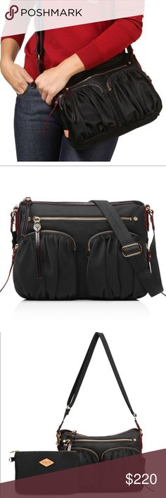 """MZ Wallace Paige - Black Bedford MZ Wallace Paige - Black Bedford  Pristine! Brand new! Great online reviews!  MZW's best-selling crossbody style. Classic black Bedford Nylon with contrast red lining and custom MZ Wallace Gold hardware.  4 exterior zip pockets and signature 6 interior pockets Detachable interior zippered pouch (6.5"""" l x 5"""" h) Black Italian leather trim with signature red edge dye Water and stain resistant Adjustable cross-body strap 12"""" l x 2.5"""" w x 9"""" h, adjustable strap…"""