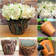 4 diy flower arrangement ideas white roses tree bark clay pot 4 DIY Blumenarrangement Ideen weiße Rosen Baumrinde Tontopf This. Deco Floral, Arte Floral, Clay Pot Crafts, Diy Crafts, Tree Bark Crafts, Wood Bark, Decorated Flower Pots, Flower Pot Design, Rose Centerpieces