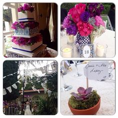 My Mexican wedding: cake, talavera vase centerpiece and succulent guest place setting/favor.