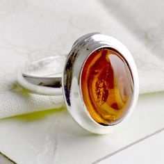 Simple Amber Oval Ring