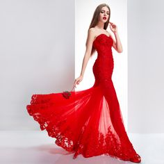 Open-shoulder-floor-length-Chinese-red-bridal-dress-wedding-gown-mermaid-evening-gown-