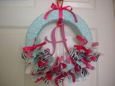 baby girl wreath in aqua, pink and zebra