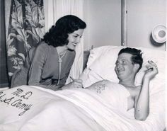 Jane Russell signs an injure vet's cast