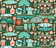Scandinavian Surf Summer fabric by christinewitte on Spoonflower - custom fabric