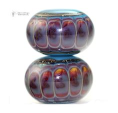 Handmade Lampwork Bead Artist | ... Track Round Duo handmade glass lampwork beads with rustic reactions