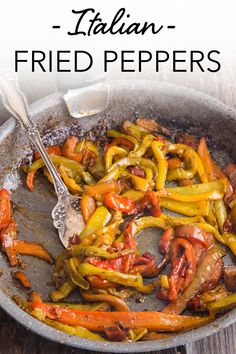 Italian Fried Peppers, a fast, easy and tasty side dish. Made with only a few ingredients, peppers never tasted so good! This pan-fried dish is the perfect compliment to any meat dish. This easy side dish recipe is the perfect addition to a quick weeknight dinner! #peppers #sidedish #italianrecipe #italianpeppers #vegetables Vegan Side Dishes, Best Side Dishes, Side Dish Recipes, Italian Spaghetti And Meatballs, Kitchen Recipes, Cooking Recipes, Fried Peppers, Veggie Appetizers, Grilled Sausage