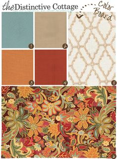 beach cottage style Today's color board is a rich combination of burnt sienna, pumpkin and a splash of blue to create a vibrant cottage style farmhouse color palette.