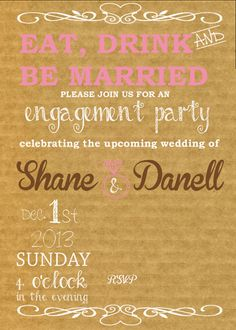 Engagement Party Invitation @One Sweet Day, Weddings & Events