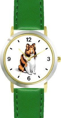 Collie Dog - WATCHBUDDY® DELUXE TWO-TONE THEME WATCH - Arabic Numbers - Green Leather Strap-Children's Size-Small ( Boy's Size & Girl's Size ) WatchBuddy. $49.95