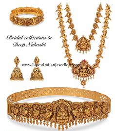 Nakshi necklace and haram with Lakshmi pendant, peacock jhumkas, Lakshmi and peacock design nakshi vaddanam and gold kada bangle. Antique Jewellery Designs, Gold Jewellery Design, Gold Jewelry, Etsy Jewelry, Crystal Jewelry, Diamond Jewelry, Handmade Jewelry, Indian Wedding Jewelry, Indian Jewelry