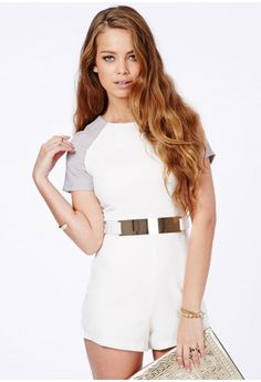 f8d169dcdc Julieta Contrast Sleeve Belted Playsuit - Jumpsuits   Playsuits - Playsuits  - Missguided Playsuits
