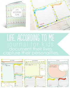 Life, According to me. A DARLING journal for kids to document their lives + capture their personalities! From Somewhat Simple