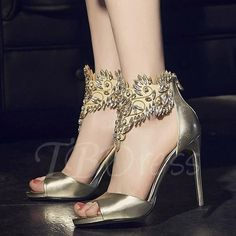 #TBDress - #TBDress Decorative Rhinestones Peep Toe High Heel Womens Sandals - AdoreWe.com
