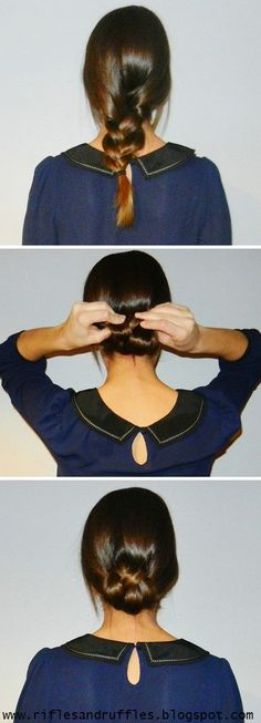 Rifles & Ruffles: Easy Rolled Braid Up-do I like this! Will try it if I can get through the in-between stage of growing out my hair.
