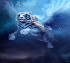 Free Angel Fairy Wallpaper | FLYING TIGER, Angel, FAIRY, FEMALE, FLYING, riding, TIGER, White ...