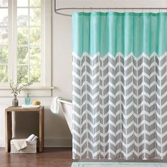 grey and coral shower curtain. Teal Grey White Zig Zag Chevron Microfiber Shower Curtain Bathroom  Curtains Loluxe in Navy Coral Pink Aqua Gray by SwirledPeasDesigns