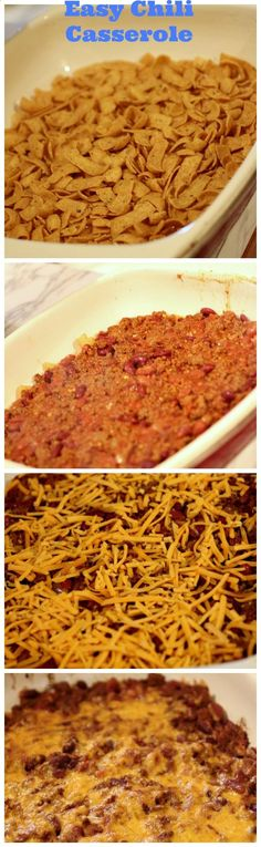 Easy Chili Casserole Recipe-my husband makes this and adds a layer of sour cream with more Fritos on top. SO good!!!!