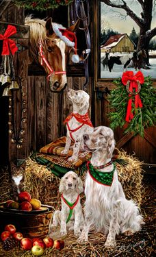 English Setter (orange) - Christmas Friends