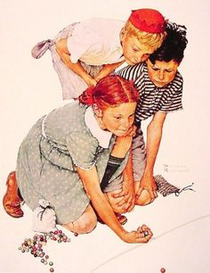 """Marble Champion"" - by Norman Rockwell"