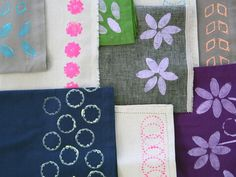 How to Block Print Napkins. So easy! #hgtv #mothersdayideas >> http://www.hgtv.com/handmade/how-to-block-print-napkins-with-simple-diy-stamps/pictures/index.html?soc=pinterest
