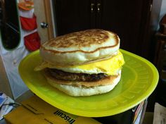 Home-made breakfast sandwich: Two small pancakes (make it a bit larger than the sausage patty), your favorite sausage patty, one fried egg (break the yolk and cook it through on both sides). Add a slice of cheese and enjoy a nice breakfast without the WTF feeling that sometimes comes after you've eaten fast food.