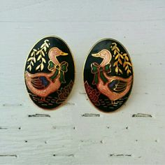 Anthro Cloisonne Geese Earrings, Pls Read Descript So adorable and unique. Prepare for non stop compliments. Mint condition. Oval shaped. Studded and for pierced ears. My sister is not completely sure where she purchased these but these may be from Anthro. Either way, these are super cute! Anthropologie Jewelry Earrings