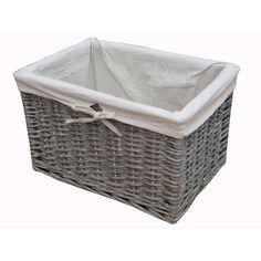 Charmant Grey Wash Rectangular Deep Wicker Storage Basket   Lined