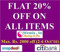 Instant 20% Discount on All Items Maximum Rs 2000 off