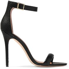 Halston Heritage Ester snake-effect and smooth leather sandals (€250) ❤ liked on Polyvore featuring shoes, sandals, black, kohl shoes, black shoes, strappy high heel shoes, high heel sandals and snake sandals