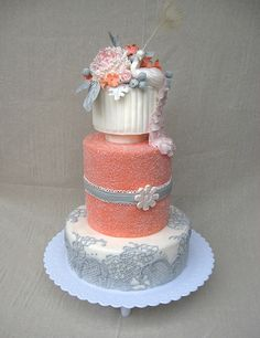Coral Wedding Cake with touches of silver