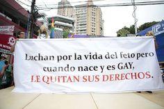 ¨Luchan por la vida del feto pero cuando nace y es gay, le quitan sus derechos¨ Pasacalle de la Marcha por la Vida y la Diversidad Sexual en Medellín, 2014