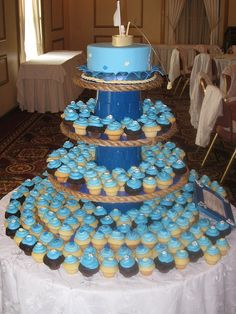 nautical baby shower - cupcake tower