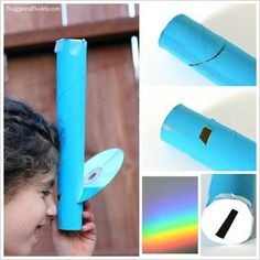 Science for Kids: Homemade Spectroscope using a paper towel roll and a CD. Such a fun way to explore light! Kid Science, Science Activities For Kids, Preschool Science, Science Classroom, Science Fair, Preschool Activities, Science Quotes, Science Ideas, Body Preschool