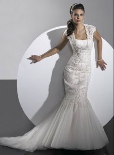 Delicate Style Mermaid Cap Style Sleeve Applique Beading Tulle&Satin Sweep Train Wedding Dress