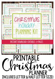 Printable Christmas Planner! Everything you need to get organized for the Holidays. Includes 17 pages in both letter and half letter size!