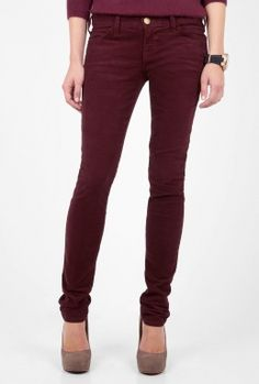 Wine Red Burgundy Skinny Cord Jeans by Current/Elliot