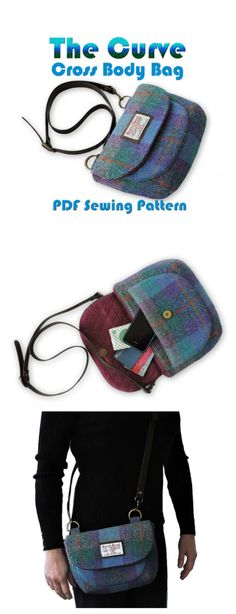 The Curve - cross body purse sewing pattern. With an adjustable cross body strap and magnetic snap closure.