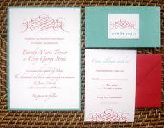 Metallic Red Tiffany Blue Aqua Scroll Wedding by alamodebride
